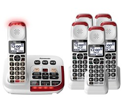 Panasonic Single Line Cordless Phones 6 Handsets panasonic kx tgm420w 5 kx tgma44w