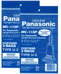 Panasonic MC-115P 2-Pack 3-Pack of Upright Vacuum Bags