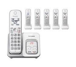 Panasonic Single Line Cordless Phones 6 Handsets panasonic kx tgd532w 6 handset cordless phone