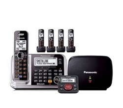Panasonic Single Line Cordless Phones 5 Handsets panasonic kx tg7875s with range extender and call blocker
