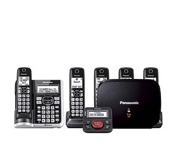 Panasonic Single Line Cordless Phones 5 Handsets panasonic kx tgf575s with range extender and call blocker