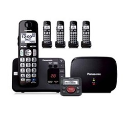 Panasonic Single Line Cordless Phones 5 Handsets panasonic kx tge235b with range extender and call blocker