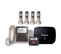Panasonic Single Line Cordless Phones 5 Handsets panasonic kx tgf354n with range extender and call blocker