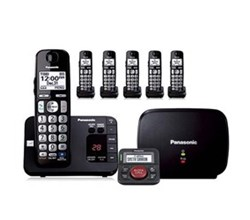 Panasonic Single Line Cordless Phones 6 Handsets panasonic kx tge236b with range extender and call blocker