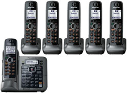 Panasonic Single Line Cordless Phones 6 Handsets panasonic kx tg7646m